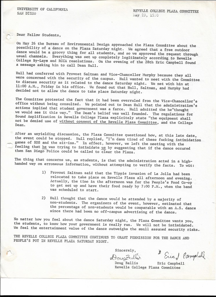 5-29-70 College Plaza Commitee Memo to Students