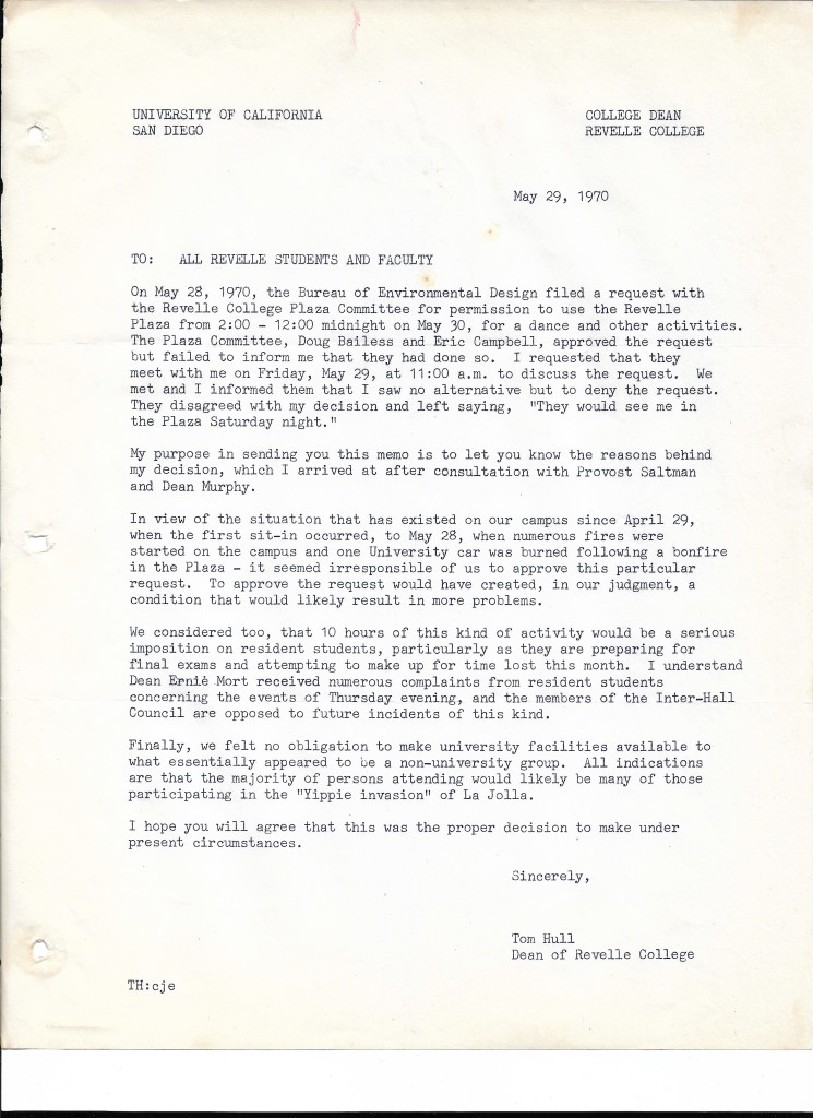 5-29-70 Dean's Memo to Students and Faculty